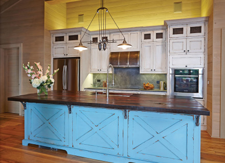 Teal Kitchen Front On